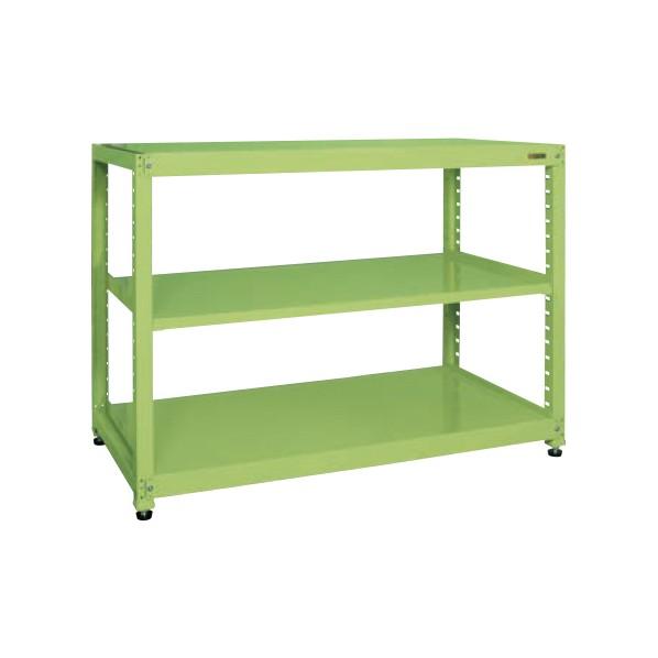 サカエ RKラック(単体・均等耐荷重:250kg/段・3段タイプ) カラー:グリーン 寸法(間口W×奥行D×高さH)(mm):1500×450×1200 RKN-5423 1台 0
