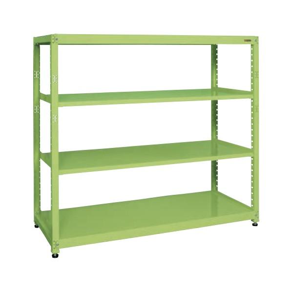 サカエ RKラック(単体・均等耐荷重:250kg/段・4段タイプ) カラー:グリーン 寸法(間口W×奥行D×高さH)(mm):1800×750×1200 RKN-8724 1台 0