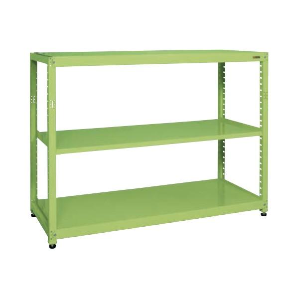 サカエ RKラック(単体・均等耐荷重:250kg/段・3段タイプ) カラー:グリーン 寸法(間口W×奥行D×高さH)(mm):1800×600×1500 RKN-8653 1台 0