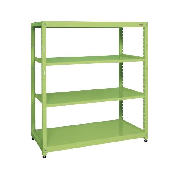 サカエ RKラック(単体・均等耐荷重:250kg/段・4段タイプ) カラー:グリーン 寸法(間口W×奥行D×高さH)(mm):1800×450×1500 RKN-8454 1台 0
