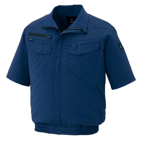 アイトス 半袖ブルゾン(空調服TM)(男女兼用) 008ネイビー L AZ-2998-008 1枚