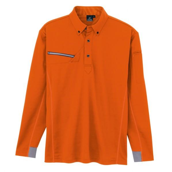 アイトス 長袖ボタンダウンポロシャツ(男女兼用) 063オレンジ 4L AZ-551047-063 1枚