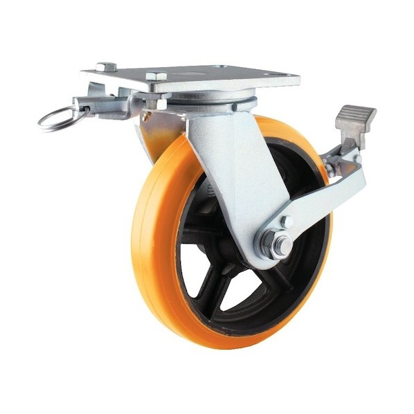 ヨドノ ヨドノ 重量用高硬度ウレタン自在車200φストッパー・旋回ロック付 142 x 322 x 257 mm SDUJ200STTL 2