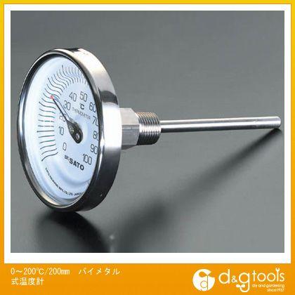 エスコ 0?200℃/200mmバイメタル式温度計 (EA727AB-19)