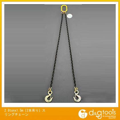 エスコ 2.8tonx1.5m[2本吊り]スリングチェーン (EA981VA-38)