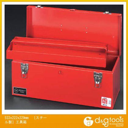 エスコ [スチール製]工具箱 533×222×229mm (EA504AC-22) エスコ 工具箱 ツールボックス スチール