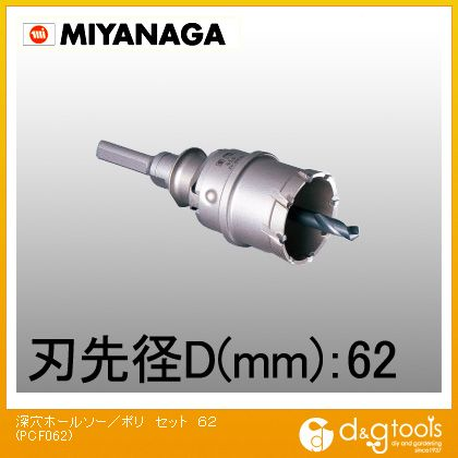 ミヤナガ 深穴ホールソー/ポリクリックシリーズ セット  PCF062