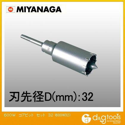 ミヤナガ ハンマー用コアビット600Wセット軽量ハンマードリル用 600W32