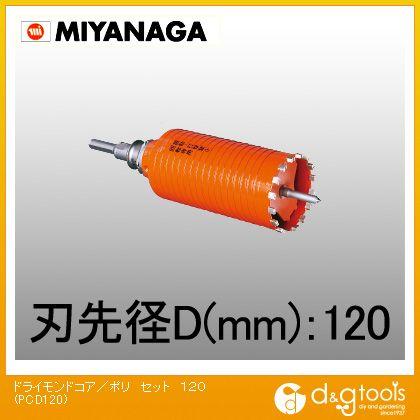 ミヤナガ 乾式ドライモンドコアドリル/ポリクリックシリーズ ストレートシャンク セット品  PCD120