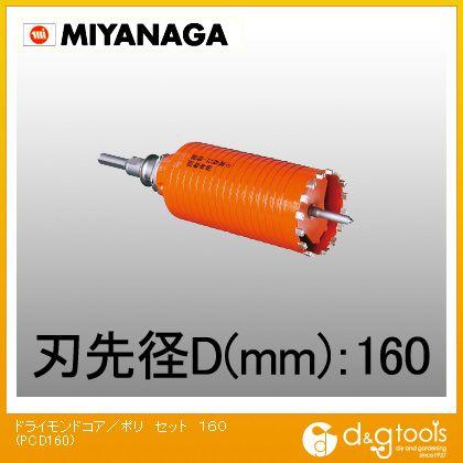 ミヤナガ 乾式ドライモンドコアドリル/ポリクリックシリーズ ストレートシャンク セット品  PCD160
