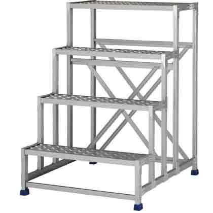 アルインコ 作業台(天板縞板タイプ)4段 (CSBC-4128S) 1台