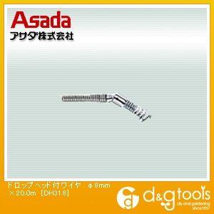 アサダ ドロップヘッド付ワイヤ φ8mm×20.0m (DH318)
