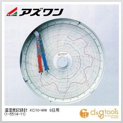 アズワン 温湿度記録計 KC10-WW 8日用 (1-5514-11)