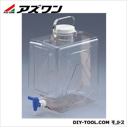 アズワン ナルゲン透明活栓付角型瓶 220×153×361mm9L (5-058-01) 1個