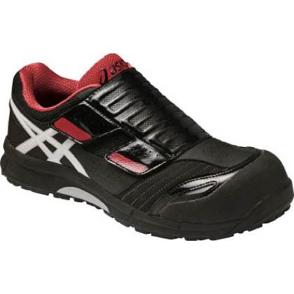 アシックス 作業用靴 ウィンジョブ CP101 黒×赤 (FCP101.9001 24.0)