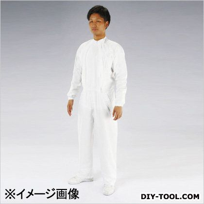 クリーンルーム用継ぎ作業服(サイドファスナー) 白 LL (EA996DA-3)