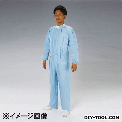クリーンルーム用継ぎ作業服(サイドファスナー) 青 LL (EA996DA-13)