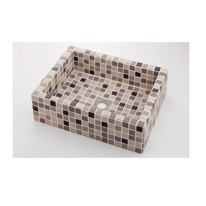 響(ひびき) 角型洗面器 ブラウンミックス (493-143-BM)