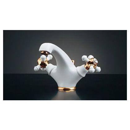 鳥(TORI:とり) 2ハンドル混合栓 白(ホワイト) 150-444