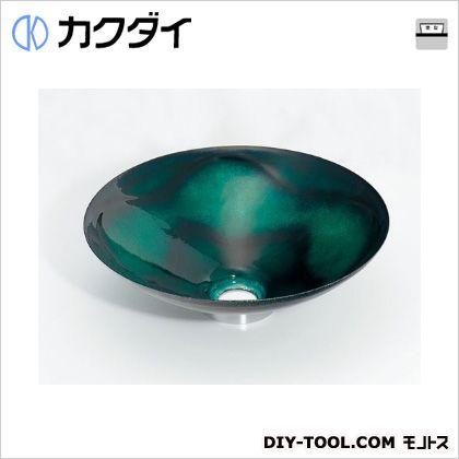 カクダイ 丸型手洗器 緑透 493-047-GR