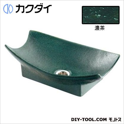 カクダイ(KAKUDAI) 舟型手水鉢 濃茶 624-934