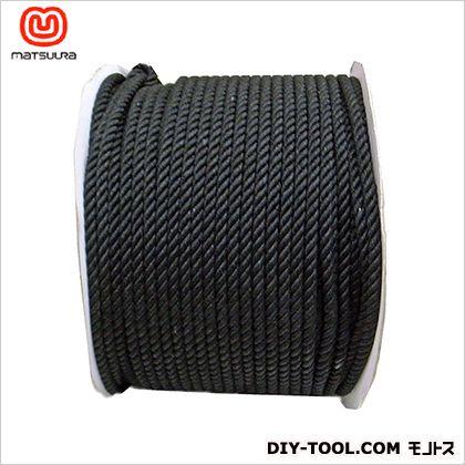 まつうら工業 綿ロープ ドラム巻 黒 8mm×200m