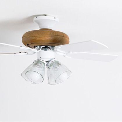 メルクロス ファイブブレードシーリングファン4灯ライトリモコン付き ホワイト 直径92(プロペラ含む回転計)H41cm 002403