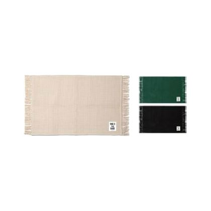 メルクロス フリンジワッフル織りラグマット グリーン 90×130cm 1223