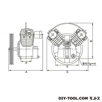 ※法人専用品※明治機械製作所 圧縮機本体 幅×奥行:600×440mm BT-55C 1台