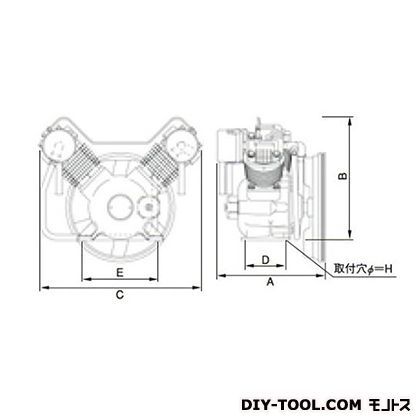 ※法人専用品※明治機械製作所 オイルフリー圧縮機本体 幅×奥行:547×341mm BFOU-22