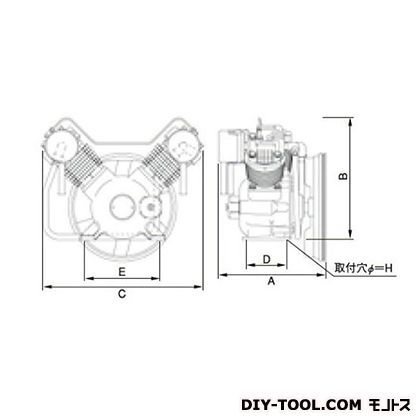 ※法人専用品※明治機械製作所 オイルフリー圧縮機本体 幅×奥行:602×396mm BFOU-37