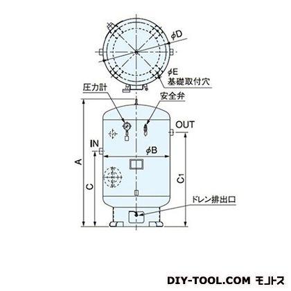 明治機械製作所 空気タンク 高さ:1900mm ST600C-100