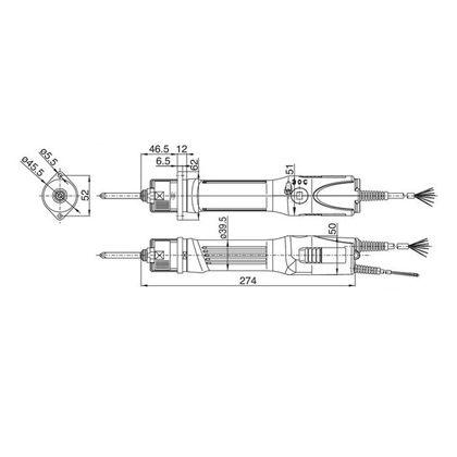 日東工器電動司機寬度×縱深×高度:274*62*50mm DLV70LAF-DKN