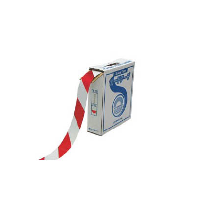 緑十字 GT-501WR ラインテープ(ガードテープ)白/赤50mm幅×100m屋内用 148063