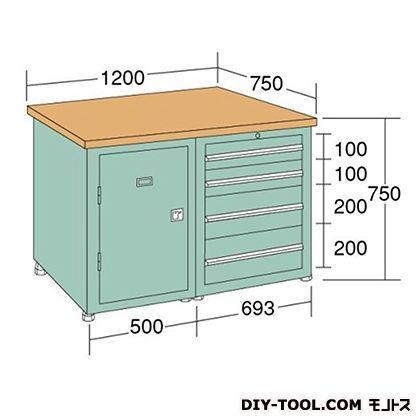 大阪製罐 中量作業台 幅×奥行×高さ:1200×750×750mm KW127E