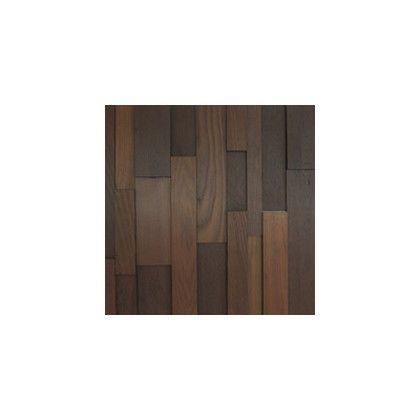 ワンウィル WOOD BRICK WALL PANEL【DARK】 金具あり(縦) 444mm×444mm×22mm