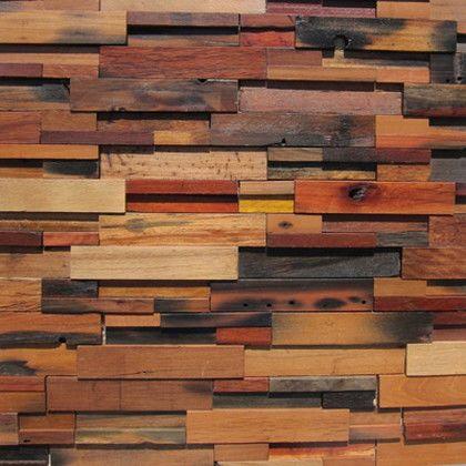 ワンウィル WOOD BRICK WALL PANEL【VINTAGE】 金具あり(横) 894mm×894mm×22mm