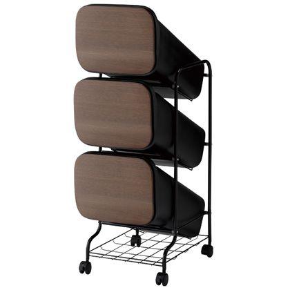 H&H スムース分別ごみ箱3段ダストボックスBBH010 ウッド 60L 252817