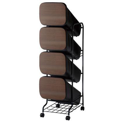 H&H スムース分別ごみ箱4段ダストボックスBBH012 ウッド 80L 252819