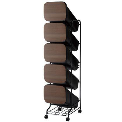 H&H スムース分別ごみ箱5段ダストボックスGBBH014 ウッド 100L 252821