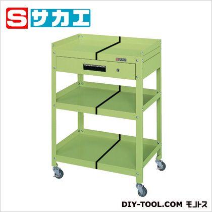 サカエ スペシャルワゴン(棚板前面開放型・引出し付) グリーン SPY20C