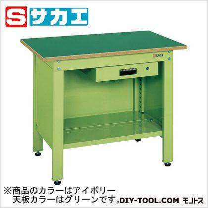 サカエ 一人用作業台CPタイプ(キャビネット付) カラー:アイボリー 天板カラー:グリーン W900×D600×H740mm CP096AI