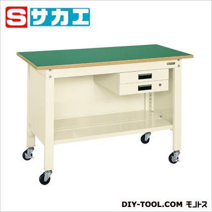 サカエ 一人用作業台CPBタイプ(キャビネット付) カラー:アイボリー 天板カラー:グリーン W1200×D600×H810mm CPB126BI