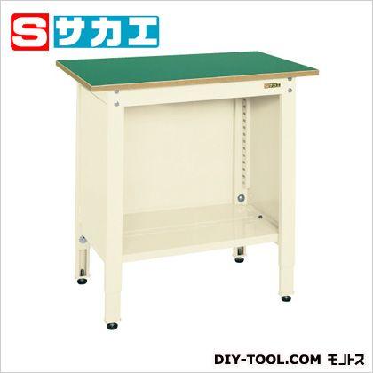 サカエ 一人用作業台(高さ調整タイプ) カラー:アイボリー、天板カラー:グリーン TCP096I