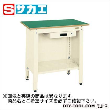サカエ 一人用作業台(高さ調整タイプ) カラー:アイボリー、天板カラー:グリーン TCP126AI