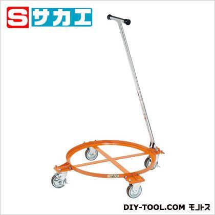 サカエ 円形ドラム台車(オープンタイプ・取手付) オレンジ DR1TS