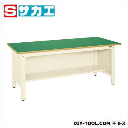 サカエ 軽量作業台KKタイプ(三方パネル付) カラー:アイボリー 天板カラー:グリーン KK69FPI