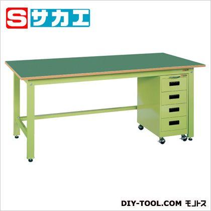 サカエ 軽量作業台KKタイプ・キャビネットワゴン付 グリーン KKF187K