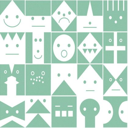 Scandinavian Pattern Collection フリース壁紙 Graphic Conversation 緑 巾46cm×5M SPC-617