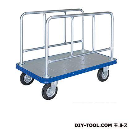 シシク 運搬台車 (スチール製ビッグボディ、ハンドル長手両袖固定、空気入車輪付) 荷台サイズ:750×1200mm VI-AI